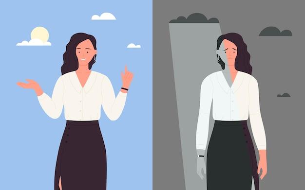 Empresários de bom e mau humor mulher de negócios feliz em terno mulher triste trabalhador de escritório