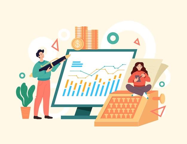 Empresários de contador que consultam o conceito de economia. ilustração de design gráfico de estilo simples e moderno