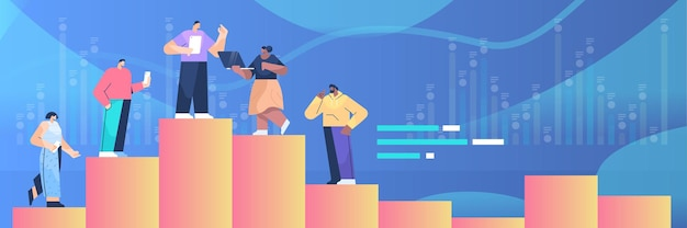 Empresários de pé no gráfico coluna trabalho em equipe liderança conceito ilustração vetorial horizontal de comprimento total
