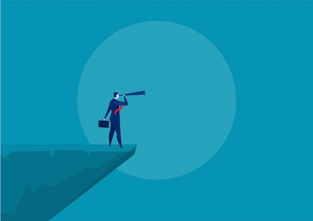 Empresários de pé no penhasco da montanha, vetor de liderança