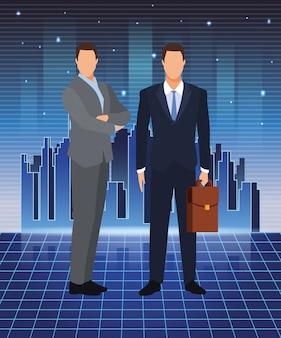 Empresários de tecnologia de inteligência artificial com mala futurista