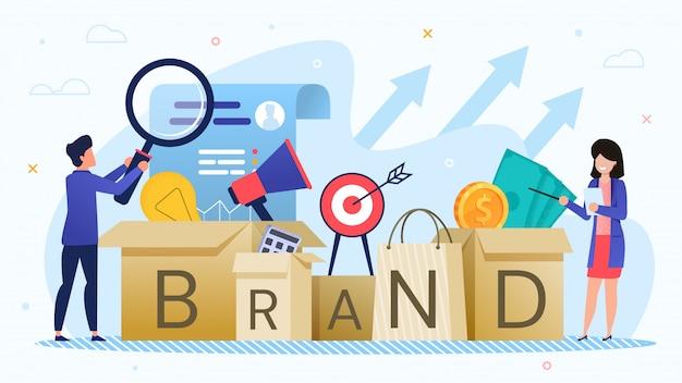 Empresários desenvolvem estratégia de marca de marketing