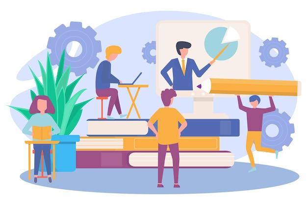 Empresários desenvolvimento profissional de caráter minúsculo aprendem a obter conhecimento processo educacional f ...