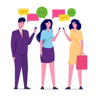 Empresários discutem o conceito de rede social, balões de fala de diálogo.