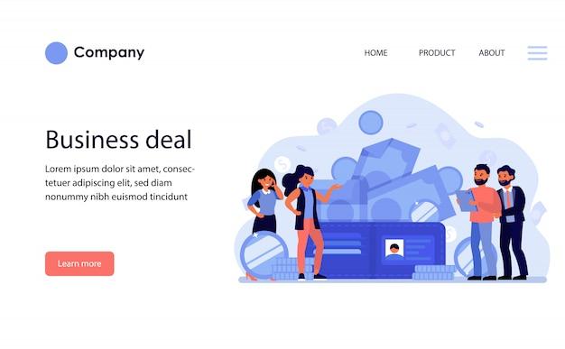 Empresários discutindo o acordo. modelo de site ou página de destino