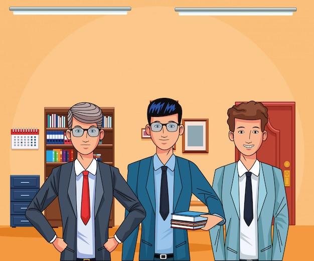 Empresários dos desenhos animados no fundo do escritório, design colorido
