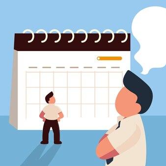 Empresários e calendário