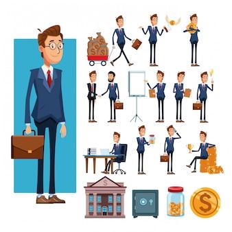 Empresários e desenhos de elementos de negócios