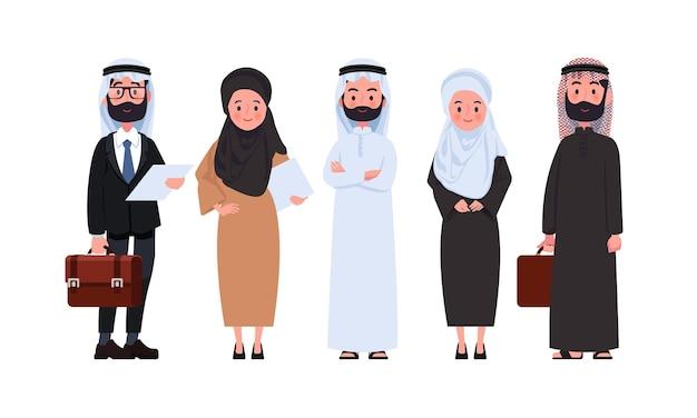 Empresários e empresárias de caracteres árabes.