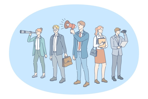 Empresários e empresárias em pé olhando para a luneta anunciando