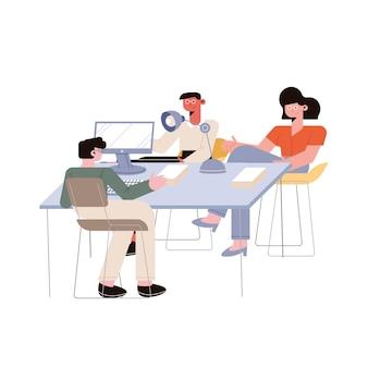 Empresários e mulher de negócios no escritório em fundo branco