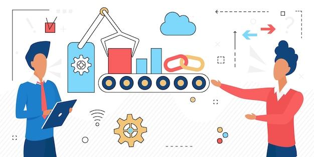 Empresários e robôs trabalham juntos em automação de processos de negócios e empresário