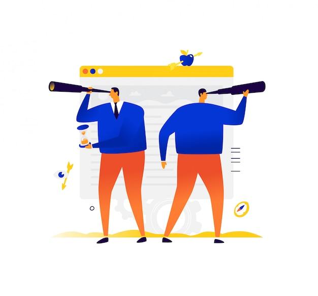 Empresários em busca de projetos e investimentos. duas pessoas estão se procurando.