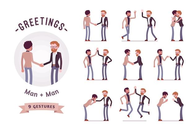 Empresários em conjunto de caracteres de aperto de mão