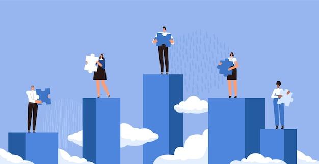 Empresários em diferentes passarelas seguram os detalhes do quebra-cabeça e não conseguem montá-los o conceito de trabalho em equipe ruim nos negócios as pessoas não conseguem trabalhar juntos cartoon flat