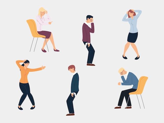 Empresários em diferentes poses, problemas financeiros ilustração design