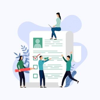Empresários em torno da ilustração do cv