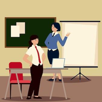 Empresários, empresárias no escritório com apresentação do conselho