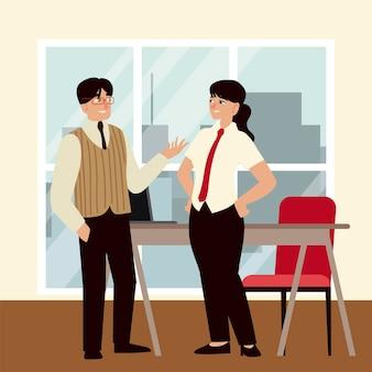 Empresários, empresário e empresária conversando sobre escritório de trabalho
