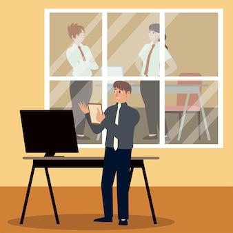 Empresários, empresários trabalhando e mulheres no escritório