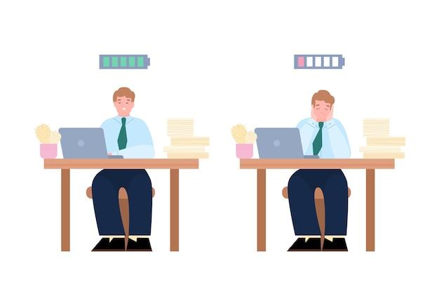 Empresários entediados e entusiasmados com ilustração vetorial dos desenhos animados isolada