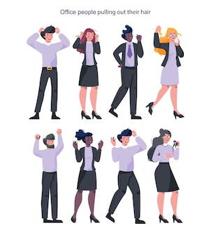 Empresários estressados arrancando os próprios cabelos. personagens femininos e masculinos estão gritando de raiva. prazo de entrega e vida estressante.