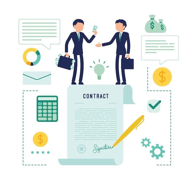 Empresários fazendo acordo de contrato