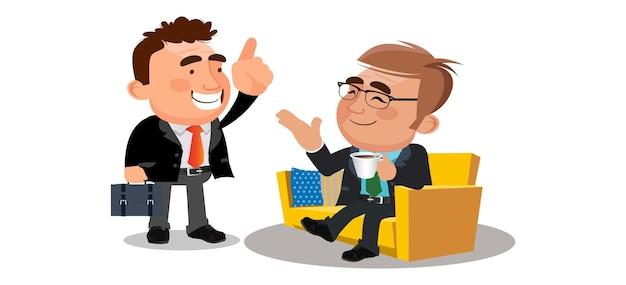 Empresários fazendo uma pausa relaxando e segurando um copo de café