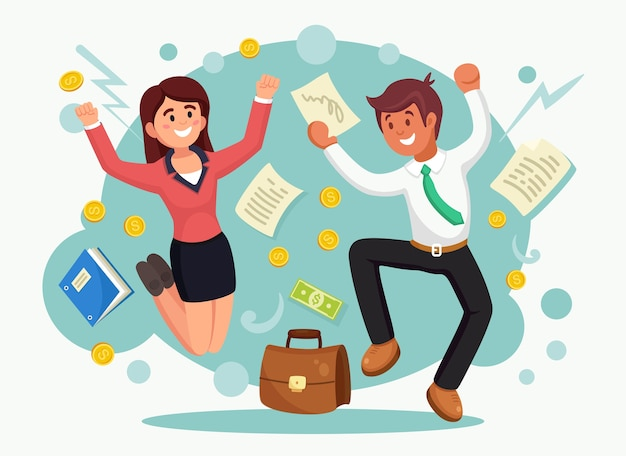 Empresários felizes pulando de alegria. homem e mulher de terno no fundo a sorrir. funcionário comemora sucesso, vitória e bom trabalho. ilustração.