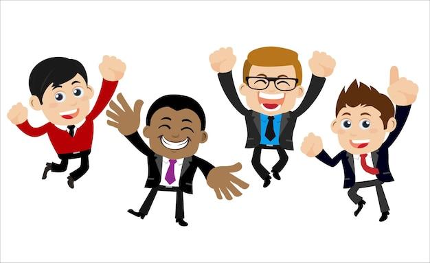 Empresários felizes pulando e comemorando a conquista do sucesso
