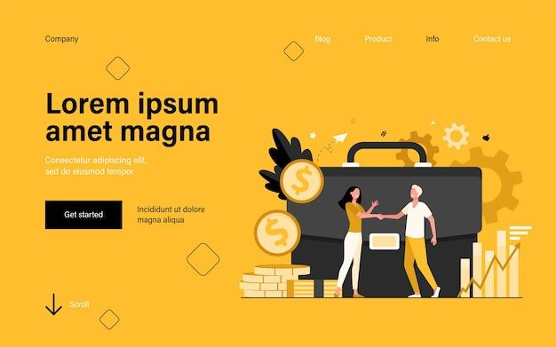 Empresários financiando ou investindo dinheiro e fazendo handshaking na página de destino em estilo simples