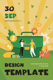 Empresários financiando ou investindo dinheiro e handshaking flat flyer template