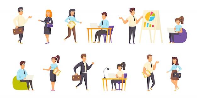 Empresários, gerentes de escritório pessoas personagem plana definida