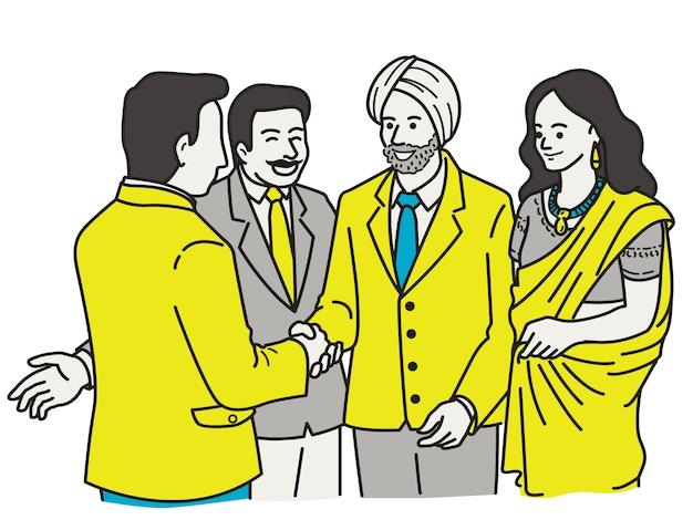 Empresários indianos fazendo corporação