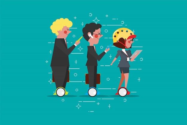 Empresários inteligentes andando em mini-hoverboard auto-equilibrável na rua da cidade