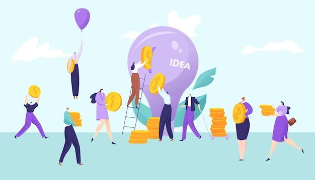 Empresários investem dinheiro na ilustração do conceito de ideia