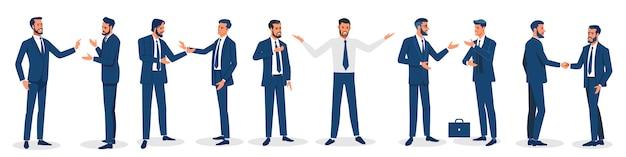 Empresários isolados. conjunto de personagens de negócios, trabalhando no escritório. desenho vetorial isolado. Vetor Premium