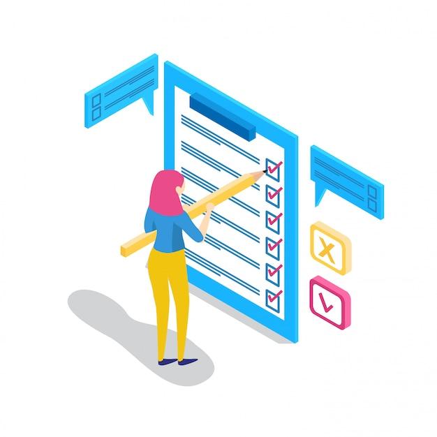 Empresários isométricos com listas de verificação e listas de tarefas.
