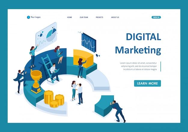 Empresários isométricos fazem um relatório sobre marketing digital