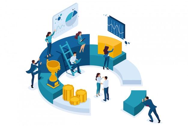 Empresários isométricos fazem um relatório sobre marketing digital.