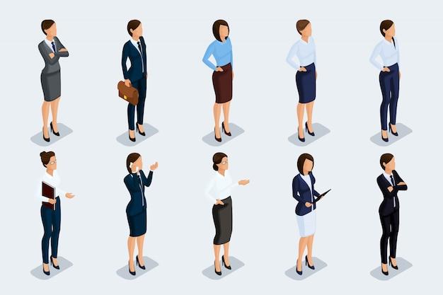Empresários isométricos, homens e mulheres em trajes de negócios