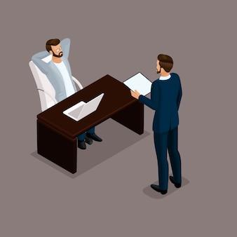 Empresários isométricos, negociações, reunião de negócios