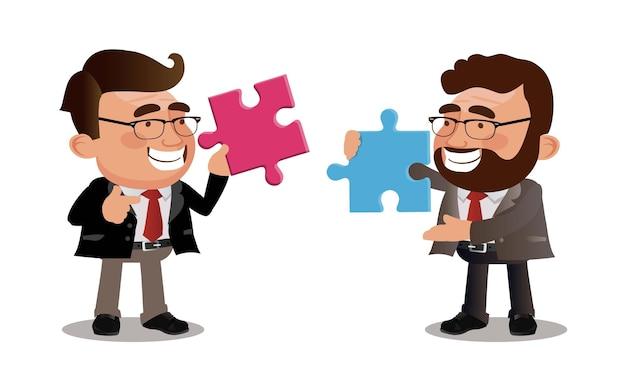 Empresários juntando grandes peças de um quebra-cabeça
