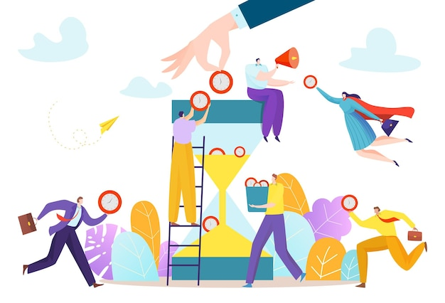Empresários juntos, trabalho em equipe, gerenciamento de tempo, personagem minúsculo