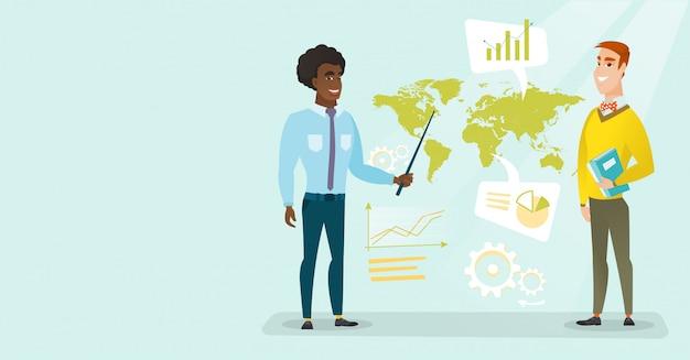 Empresários multirraciais trabalhando em negócios globais