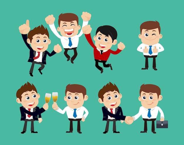 Empresários na celebração da vitória e no conceito de parceria