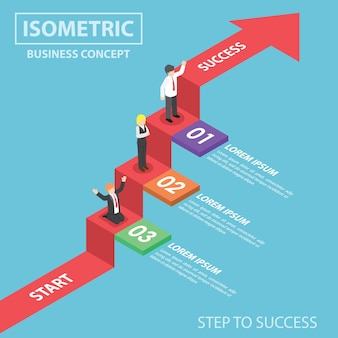Empresários na escada do gráfico de negócios