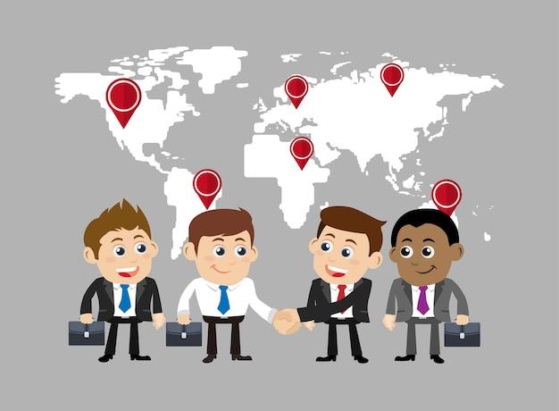 Empresários no conceito de cooperação e parceria