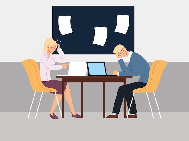 Empresários no escritório, crise financeira ou problemas econômicos ilustração design