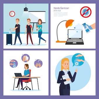 Empresários no escritório e desinfetante para as mãos Vetor Premium